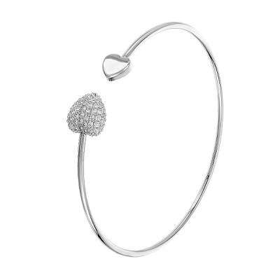 Браслет срібний Серце з розсипом (БС345)