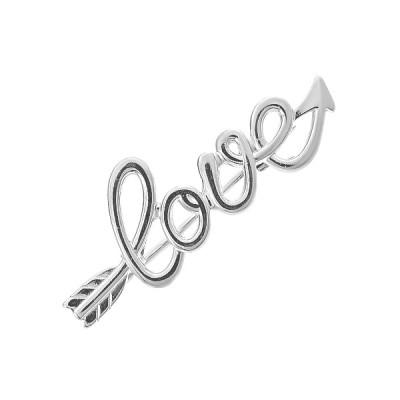 Шпилька срібна Love без каменів (БШ247)