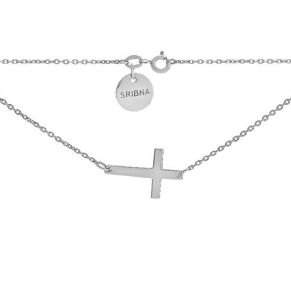 Кольє срібне Хрест без каменів (Cross)