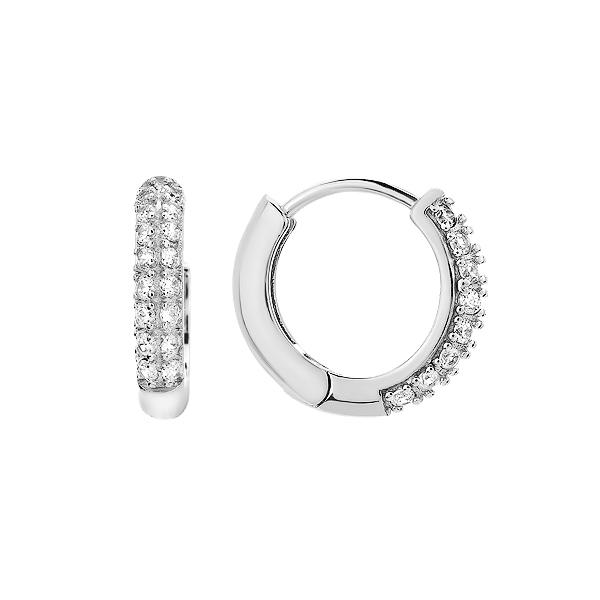 Сережки-кільця (конго) срібні доріжка з фіанітами (D4015OR1188 R14)