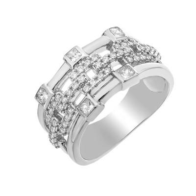 Каблучка срібна фантазія з розсипом (D4019A0299 R14)