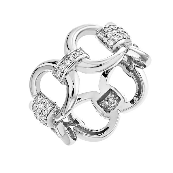 Каблучка срібна фантазія з розсипом (D4019A0331 R14)