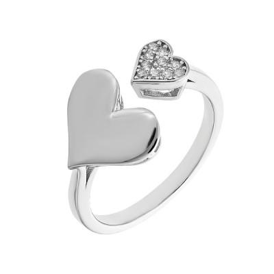 Каблучка срібна Серце з розсипом (D4019A0347 R14)