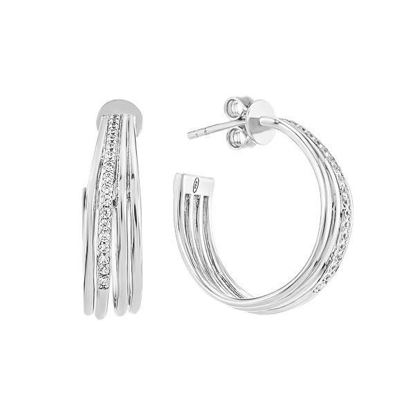 Сережки-пусети (гвоздики) срібні з розсипом (D4065OR0265 R14)