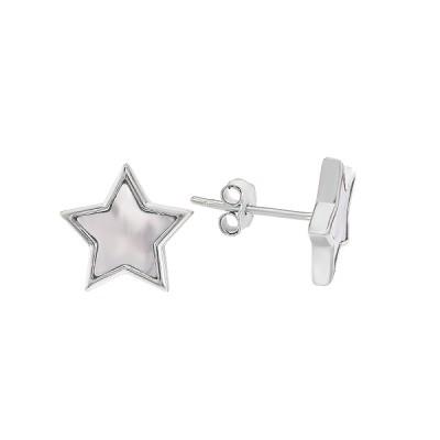 Сережки-пусети (гвоздики) срібні Зірка з перламутром (D4078OR0168 R57)