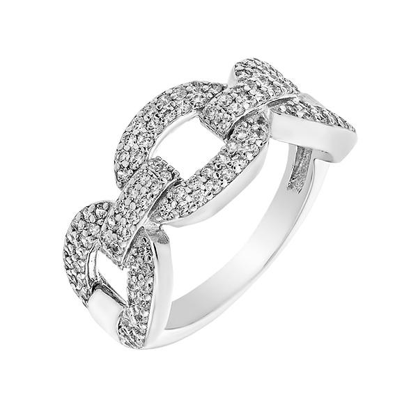 Каблучка срібна фантазія з розсипом (D4080A0154 R14)