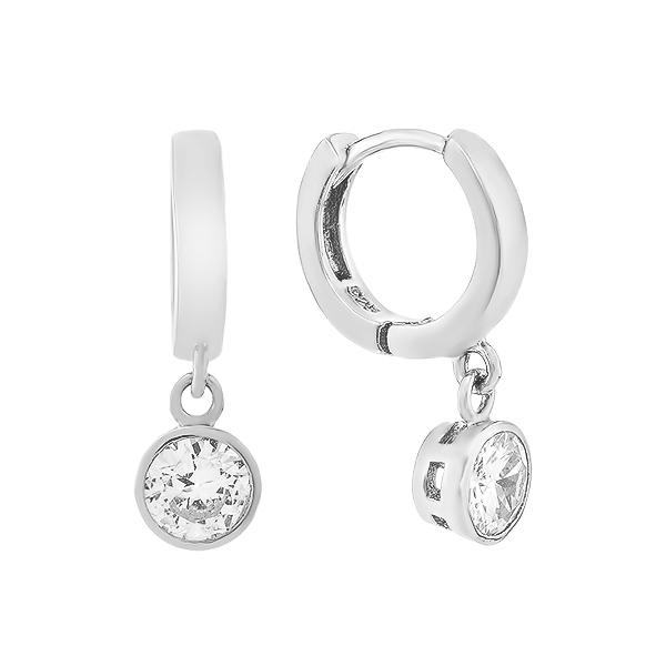 Сережки-кільця (конго) срібні з фіанітам (D4113OR0023 R14)