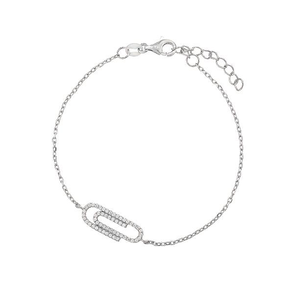 Браслет срібний Скріпка з фіанітами (D4138BK0104 R14)