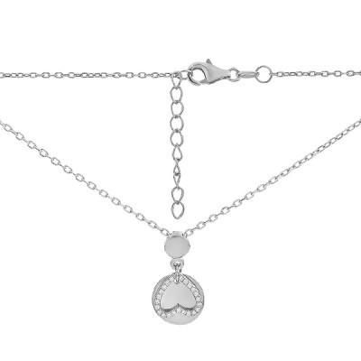 Кольє срібне Серце з фіанітами (D4138HK0137 R14)