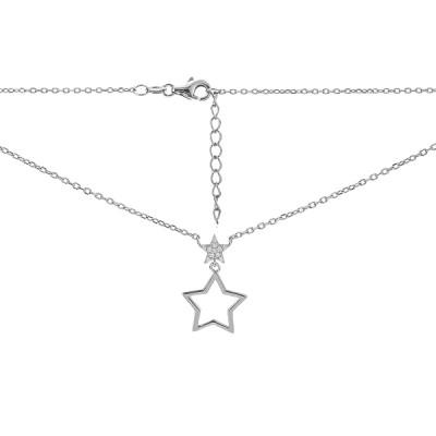 Кольє срібне Зірка з фіанітами (D4138HK0143 R14)