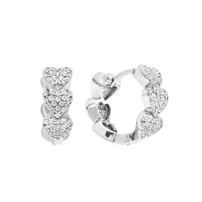 Сережки-кільця (конго) срібні фантазія з розсипом (D4138OR0167 R14)