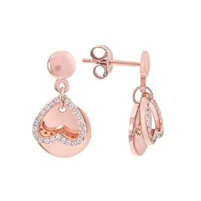 Сережки-пусети (гвоздики) срібні Серце з фіанітами (D4138OR0198 DR14)