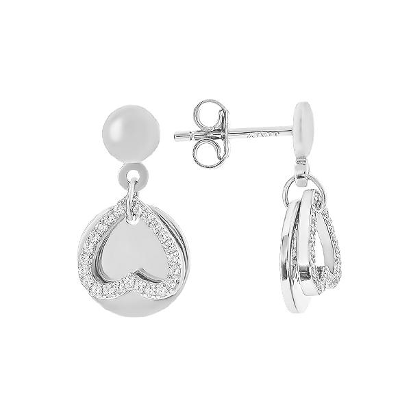 Сережки-пусети (гвоздики) срібні Серце з фіанітами (D4138OR0198 R14)