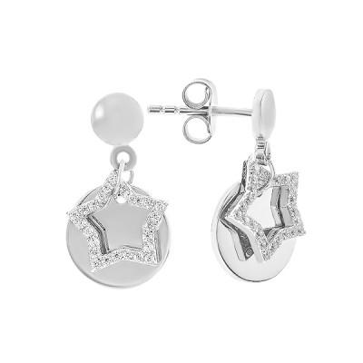 Сережки-пусети (гвоздики) срібні Зірка з фіанітами (D4138OR0199 R14)