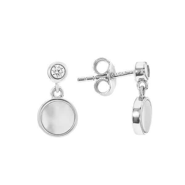 Сережки-пусети (гвоздики) срібні з перламутром (D4138OR0211 R72)