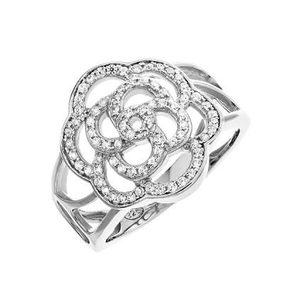 Каблучка срібна фантазія з розсипом (D4142A0027 R14)