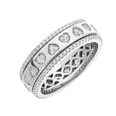 Каблучка срібна фантазія з розсипом (D4152A0004 R14)