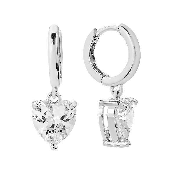 Сережки-кільця (конго) срібні з фіанітами (D4152OR0015 R14)