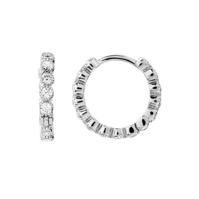 Сережки-кільця (конго) срібні доріжка з фіанітами (D4152OR0018 R14)