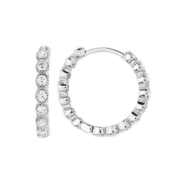 Сережки-кільця (конго) срібні доріжка з фіанітами (D4152OR0019 R14)