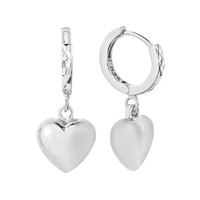 Сережки-кільця (конго) срібні Серце без каменів (D4152OR0041 R)