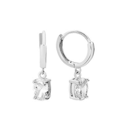 Сережки-кільця (конго) срібні з фіанітами (D4156OR0004 R14)