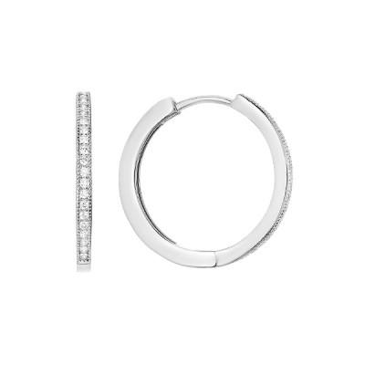 Сережки-кільця (конго) срібні доріжка з фіанітами (D4157OR0008 R14)