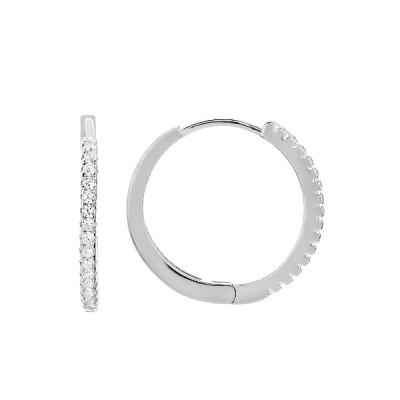 Сережки-кільця (конго) срібні доріжка з фіанітами (D4157OR0009 R14)