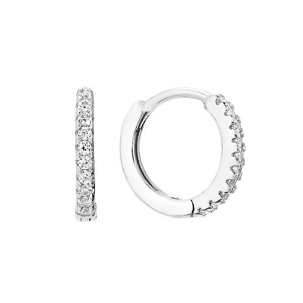 Сережки-кільця (конго) срібні доріжка з фіанітами (D4157OR0010 R14)