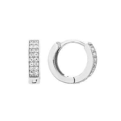 Сережки-кільця (конго) срібні доріжка з фіанітами (D4157OR0011 R14)