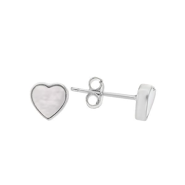 Сережки-пусети (гвоздики) срібні Серце з перламутром (D4157OR0034 R12)