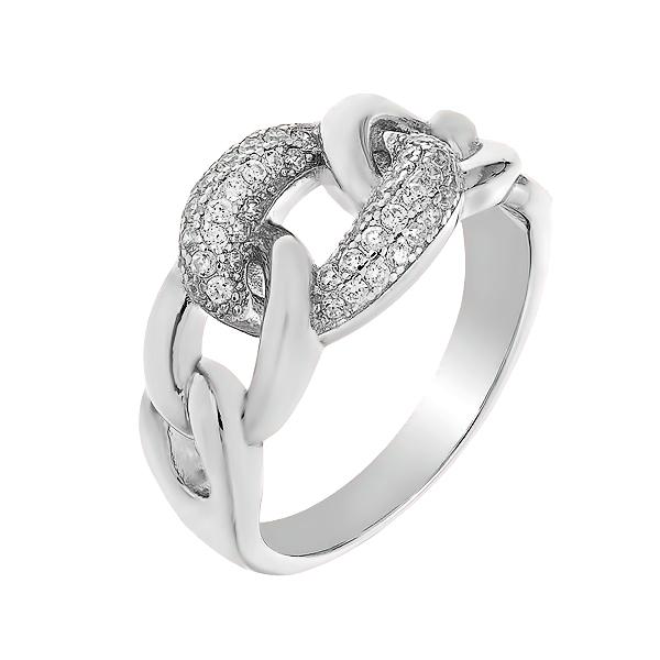 Каблучка срібна фантазія з розсипом (D4159A0002 R14)