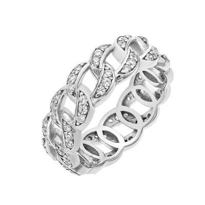 Каблучка срібна фантазія з розсипом (D4159A0005 R14)