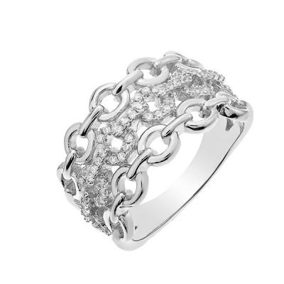 Каблучка срібна фантазія з розсипом (D4159A0009 R14)