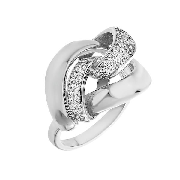 Каблучка срібна фантазія з розсипом (D4159A0012 R14)