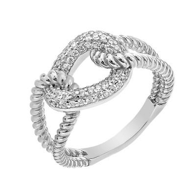 Каблучка срібна фантазія з розсипом (D4159A0015 R14)