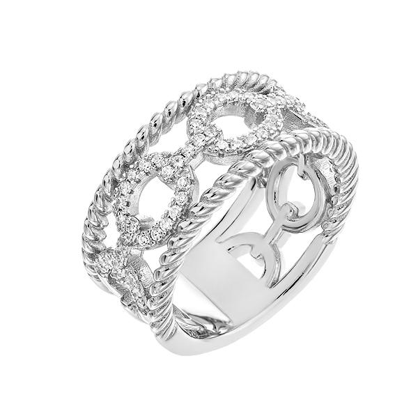 Каблучка срібна фантазія з розсипом (D4159A0016 R14)