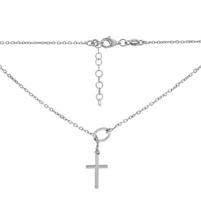 Кольє срібне Хрест без каменів (D5005HK0970 R43)