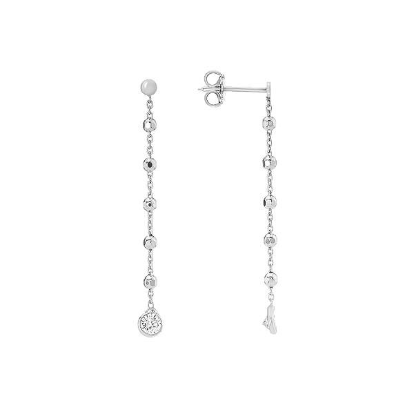 Сережки-пусети (гвоздики) срібні з фіанітами (D5026OR0774 R14)