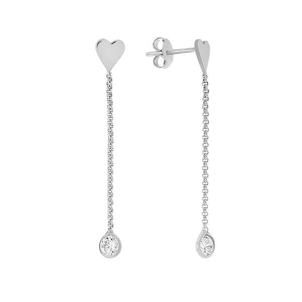 Сережки-пусети (гвоздики) срібні фантазія з фіанітами (D5026OR1165 R14)
