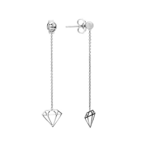 Сережки-пусети (гвоздики) срібні фантазія без каменів (D5051OR0069 R)