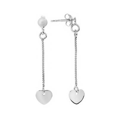 Сережки-пусети (гвоздики) срібні Серце без каменів (D8888OR0017 R)