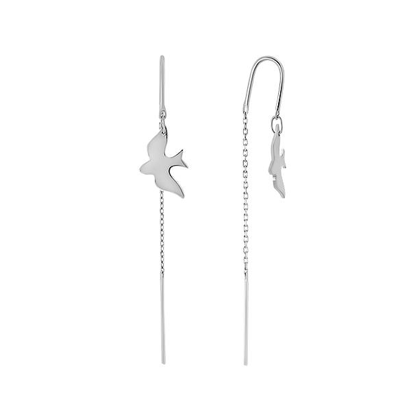 Сережки-протяжки срібні без каменів (E00009)