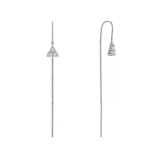 Сережки-протяжки срібні з фіанітами (E00017)