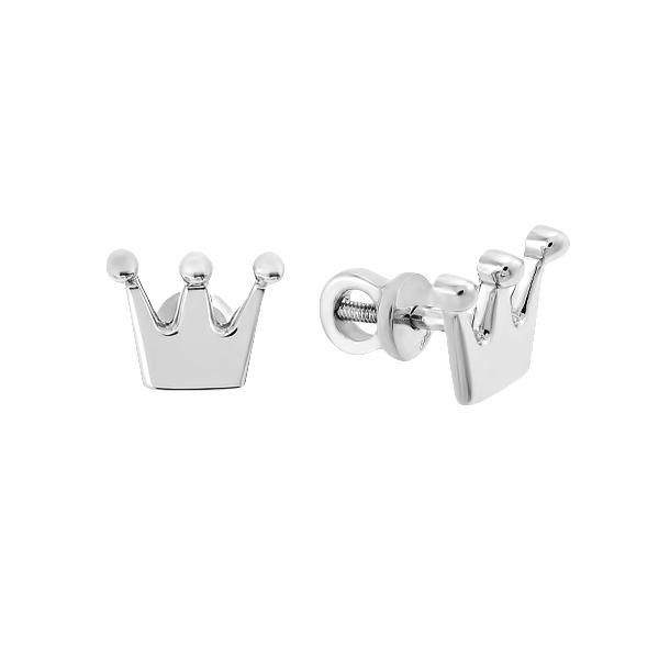 Сережки-пусети срібні Корона без каменів (Е00036)