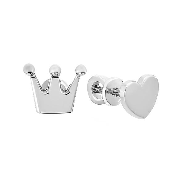 Сережки-пусети (гвоздики) срібні фантазія без каменів (E00042)