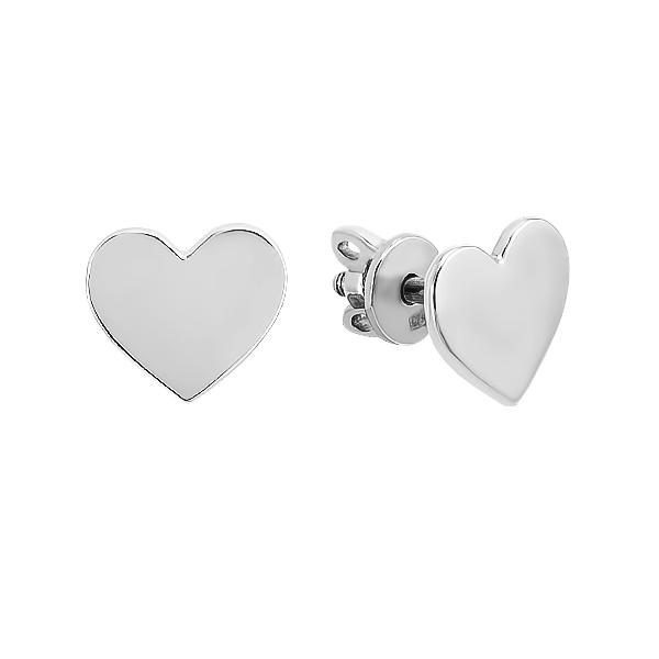 Сережки-пусети (гвоздики) срібні Серце без каменів (Е00043)