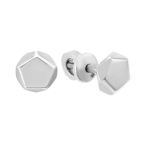 Сережки-пусети (гвоздики) срібні геометрія без каменів (E00062)