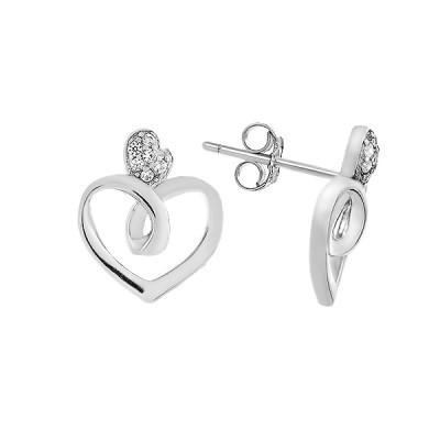 Сережки-пусети (гвоздики) срібні Серце з фіанітом (E08159)