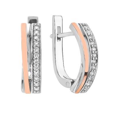 Сережки срібні доріжка з фіанітами та золотими вставками (GE-00001)